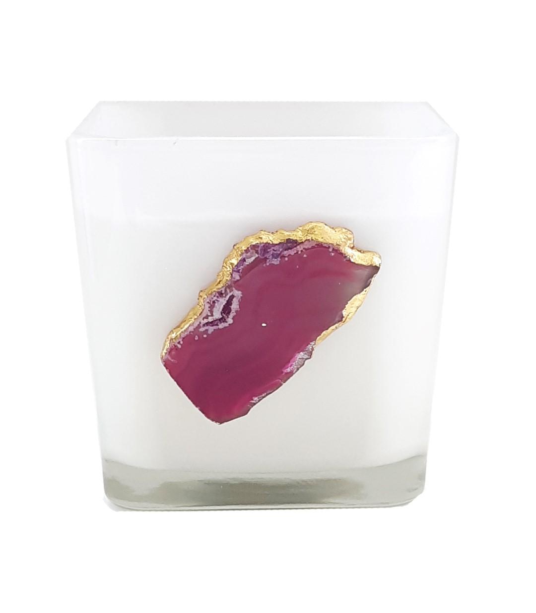 נר בכלי מרובע עם אבן ברקת - Violet Quartz