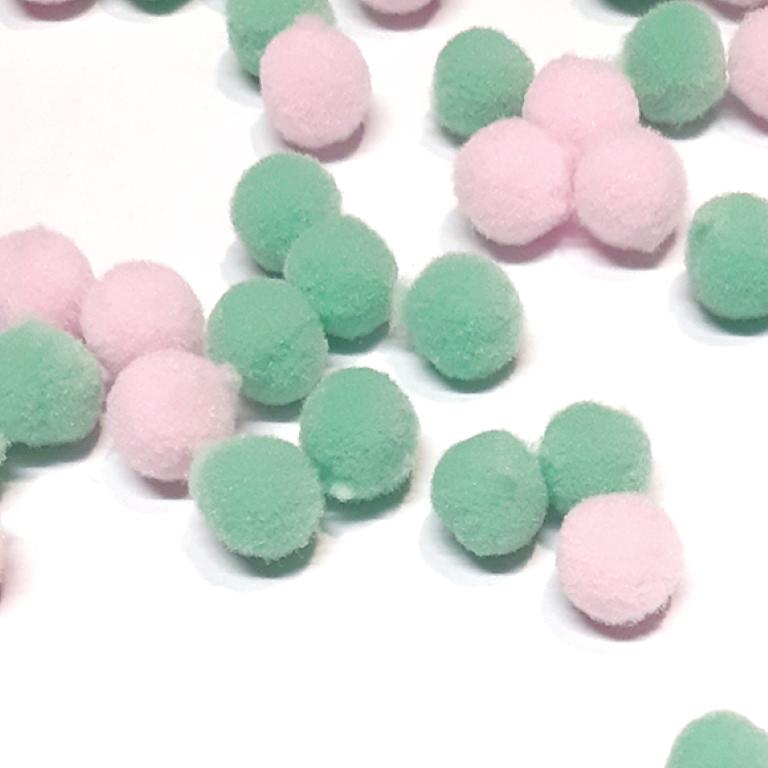 פונפונים צבעוניים קטנים - ורוד/ירוק מנטה