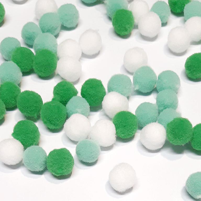 פונפונים צבעוניים קטנים - ירוק/לבן