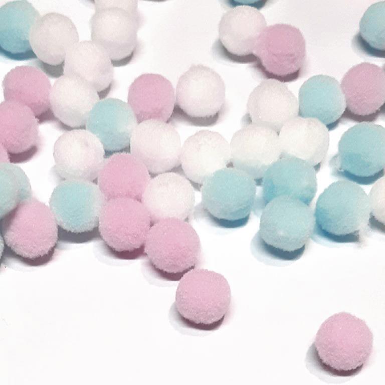 פונפונים צבעוניים קטנים - תכלת/ורוד/לבן