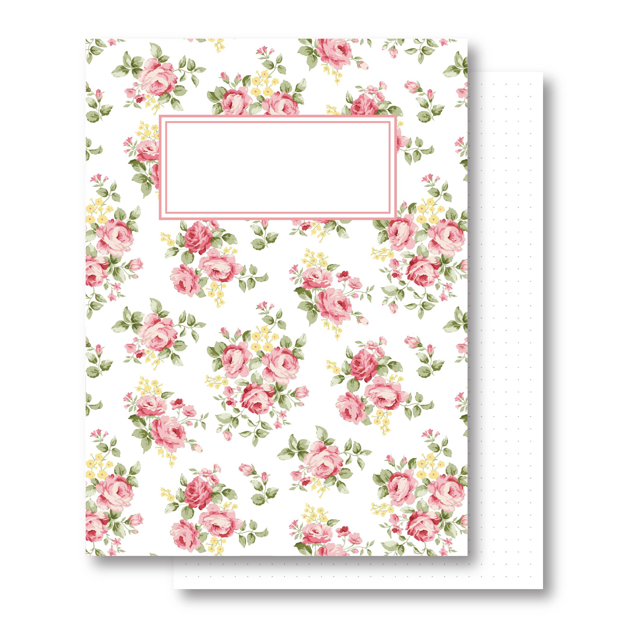 מחברת כריכה קשה - ורדים - דפים מנוקדים