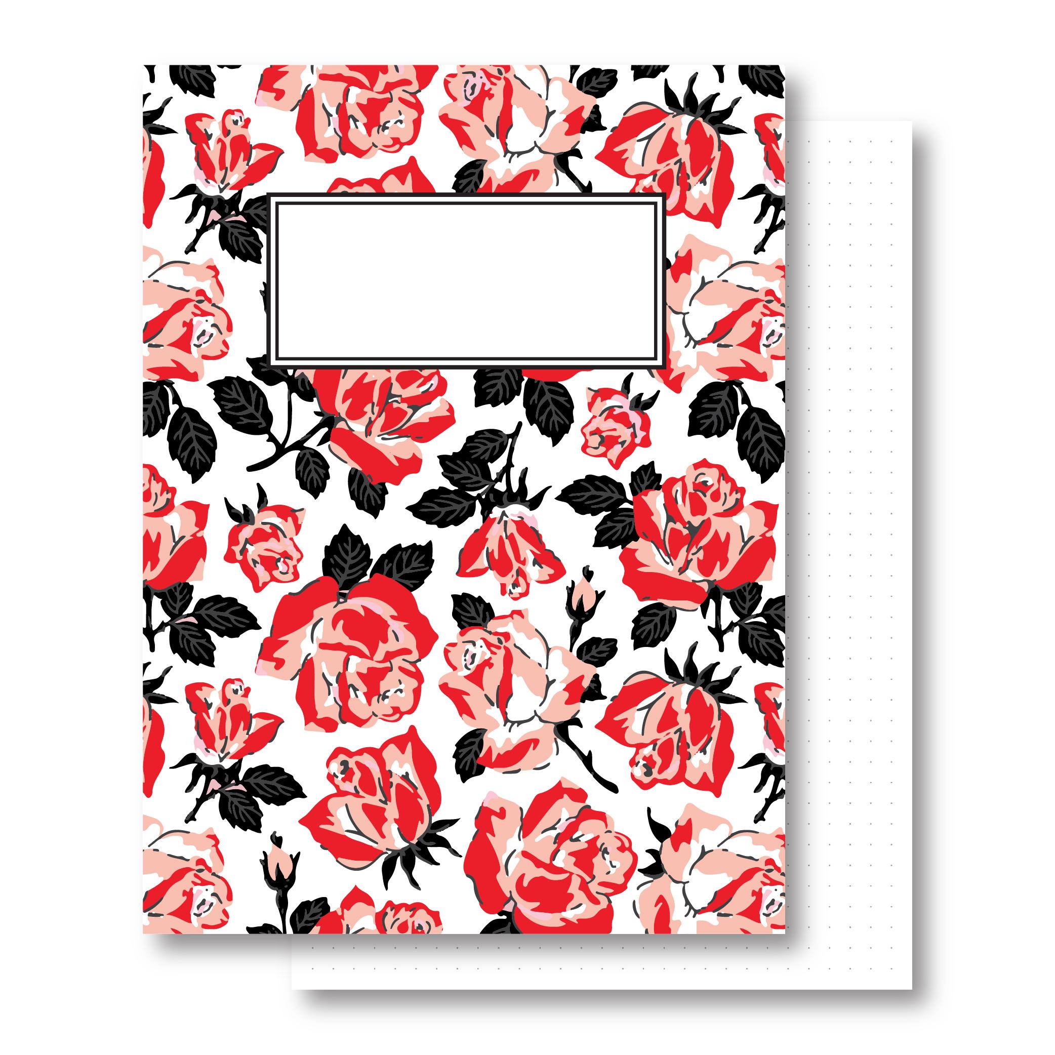 מחברת כריכה קשה - Wild Rose - דפים מנוקדים