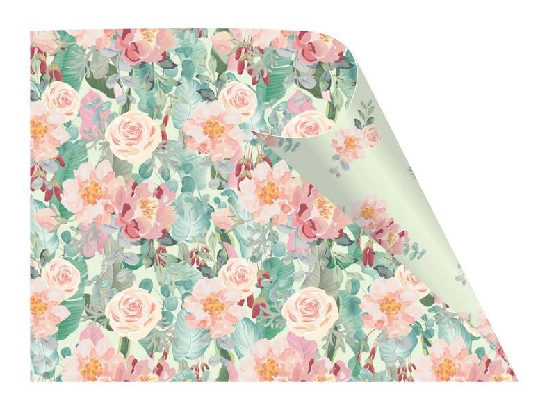 נייר עטיפה דו צדדי- דגם 32- ורדים בפסטל