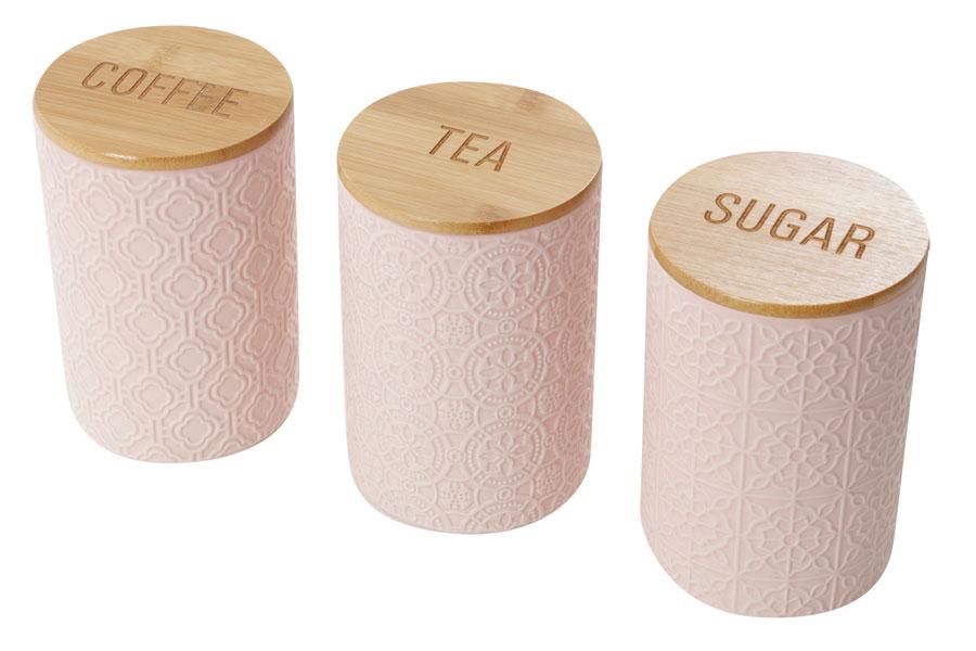 סט כלים לקפה תה סוכר- ורוד