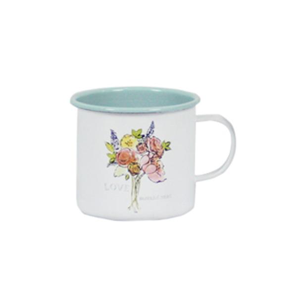 כוס אמייל - זר פרחים