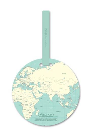 תג מפת עולם למזוודה - אקווה