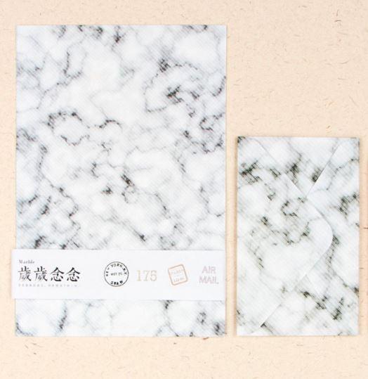 נייר מכתבים מעוצב - שיש בהיר