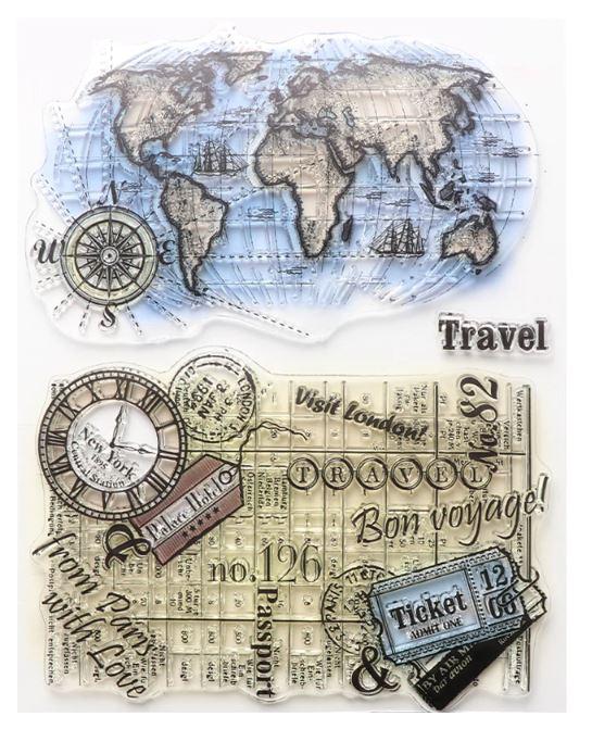 סט חותמות סיליקון - Travel