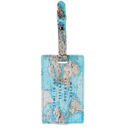 תג דמוי עור למזוודה - מפת עולם