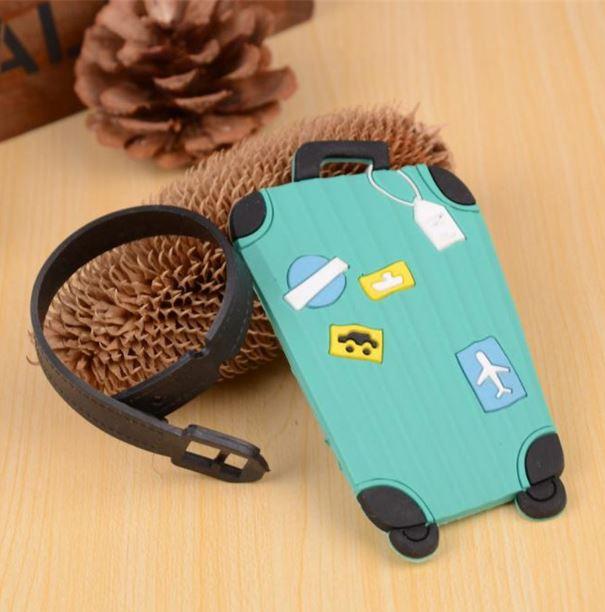 תג למזוודה - מזוודה בצבע טורקיז