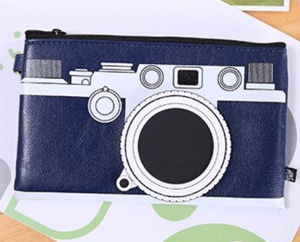 קלמר מצלמה דמוי עור - כחול