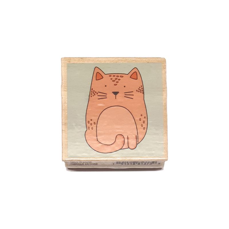 חותמת עץ - Chubby cat