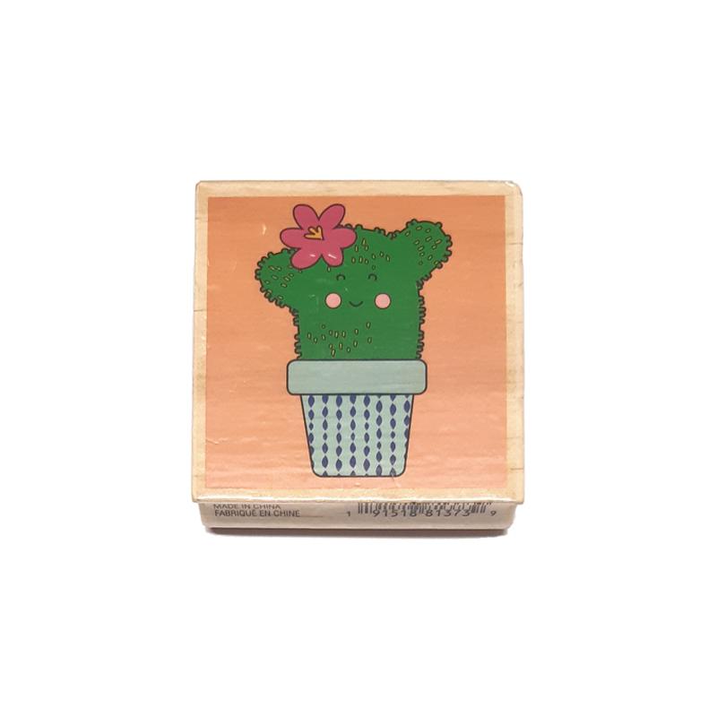 חותמת עץ - Happy Cactus