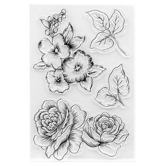סט חותמות סיליקון - Flowers and leaves