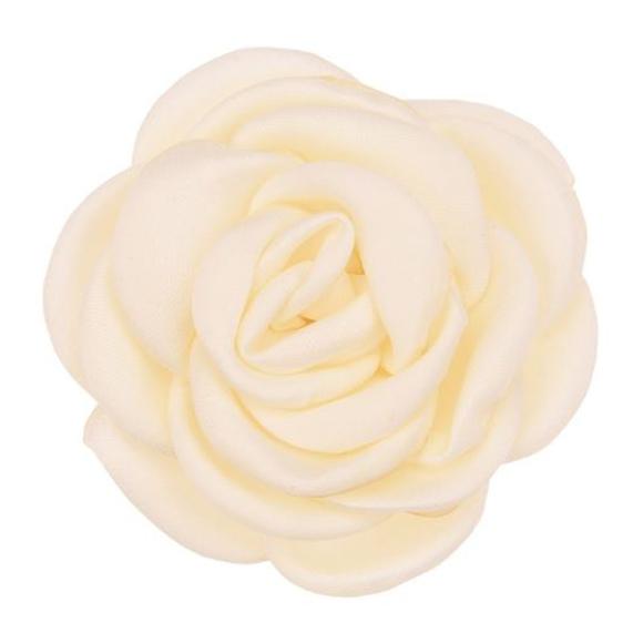 פרח בד סאטן גדול - שמנת