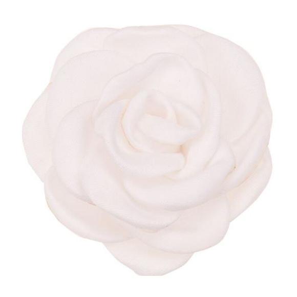 פרח בד סאטן גדול - לבן