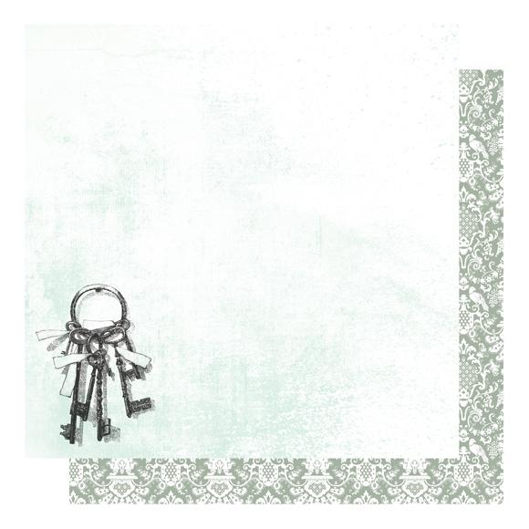 דף קארדסטוק - Shabby Colors - מפתח הלב