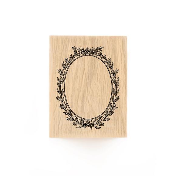 חותמת עץ - מסגרת עגולה