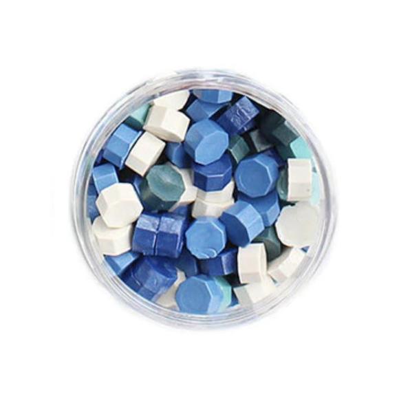 פתיתי שעווה להטבעת חותמות - גווני כחול