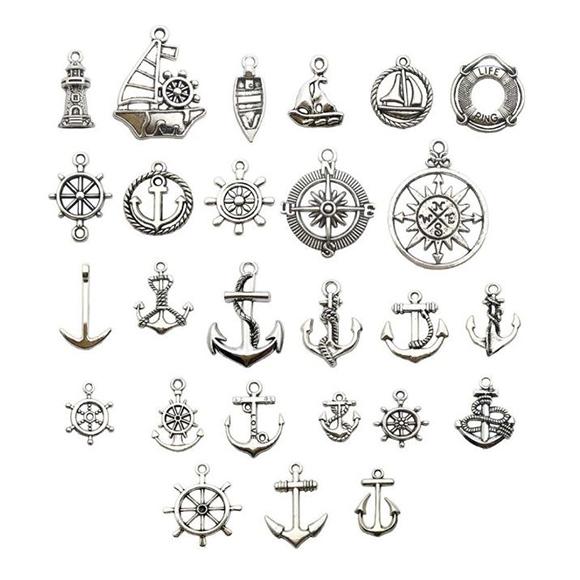 מארז 25 צ'ארמים ממתכת בנושא ים - כסף