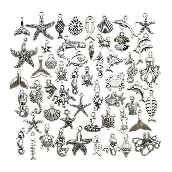 מארז 53 צ'ארמים ממתכת בנושא ים - כסף