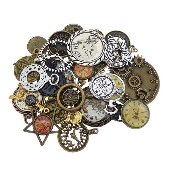 מארז 10 צ'ארמים ממתכת של חלקי שעון