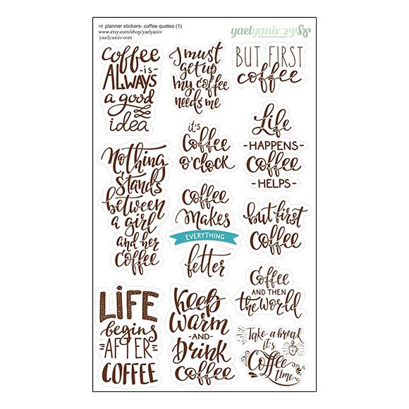 גליון מדבקות לפלאנר/יומן - ציטוטי קפה חום
