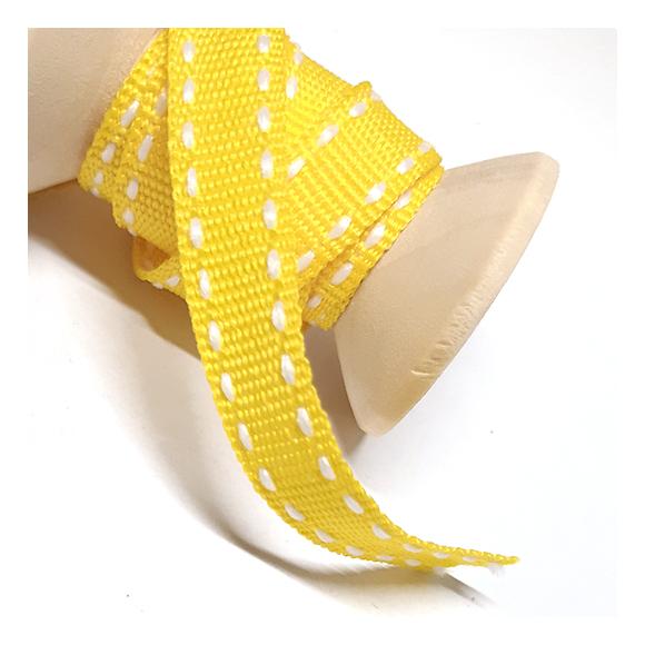 109 - סרט בד צהוב - תפר לבן