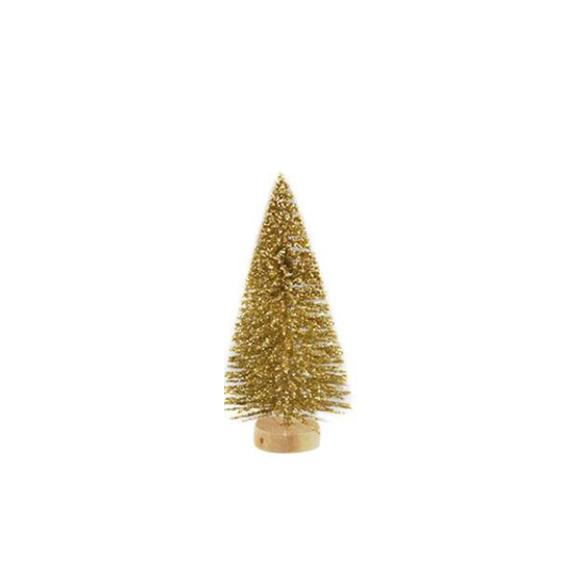 עץ אשוח מיניאטורי - זהב מנצנץ