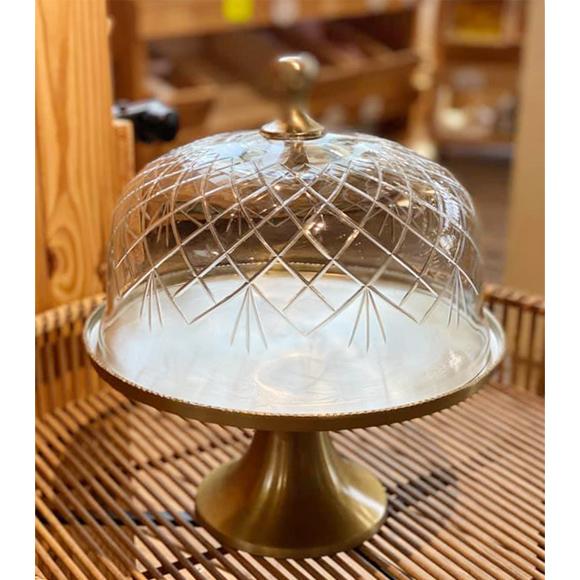 פעמון עוגה מכסה זכוכית מעויינים על רגל מתכת זהובה