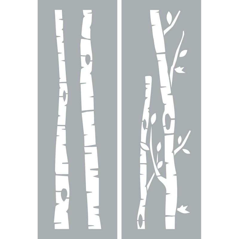 "Americana Decor Stencils 6""x18"" - Birch Trees"