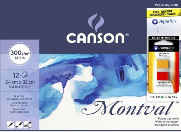 """בלוק נייר לצבעי מים - """"Canson montval - 9.4X12.6"""