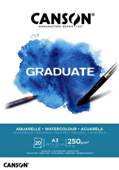 בלוק נייר לצבעי מים Canson Graduate - A3