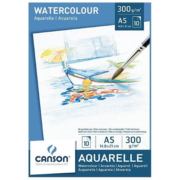 בלוק נייר לצבעי מים Canson Watercolor - A5