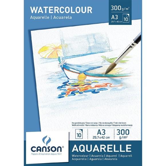 בלוק נייר לצבעי מים Canson Watercolor - A3
