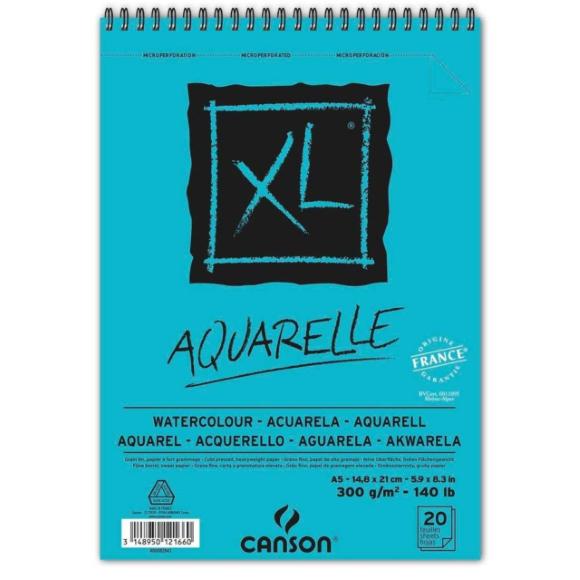 מחברת ספירלה לצבעי מים - Canson XL A5