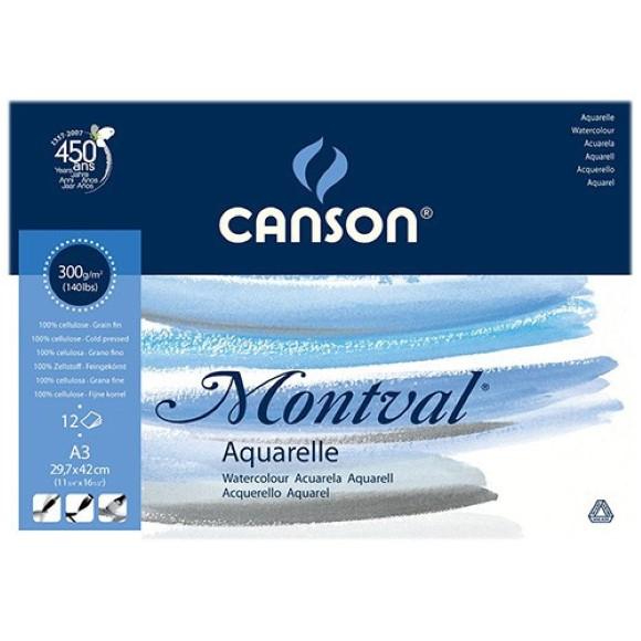 בלוק נייר לצבעי מים Canson montval - A3