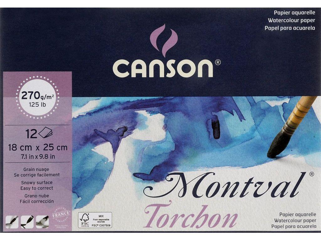 בלוק נייר קטן לצבעי מים מגורען- MONTVAL TORCHON