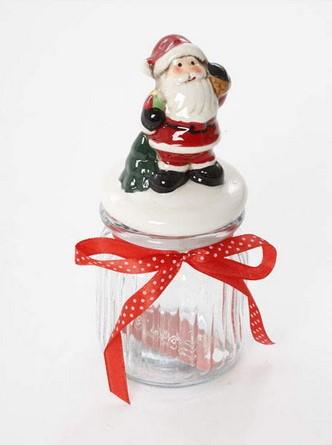 צנצנת עם מכסה - סנטה מחזיק שק מתנות - מבנה צר