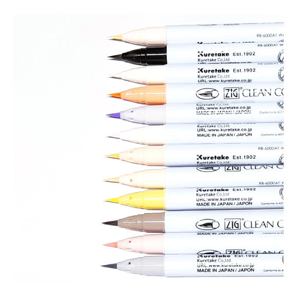 טושים - Zig Real Brush - Gentle Colors Set of 12