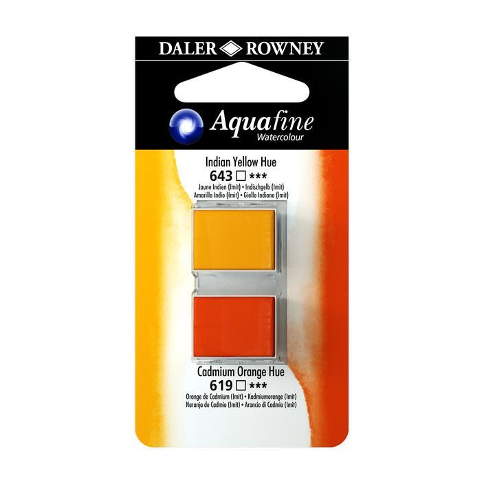 זוג קוביות צבעי מים 643/619 צהוב כתום