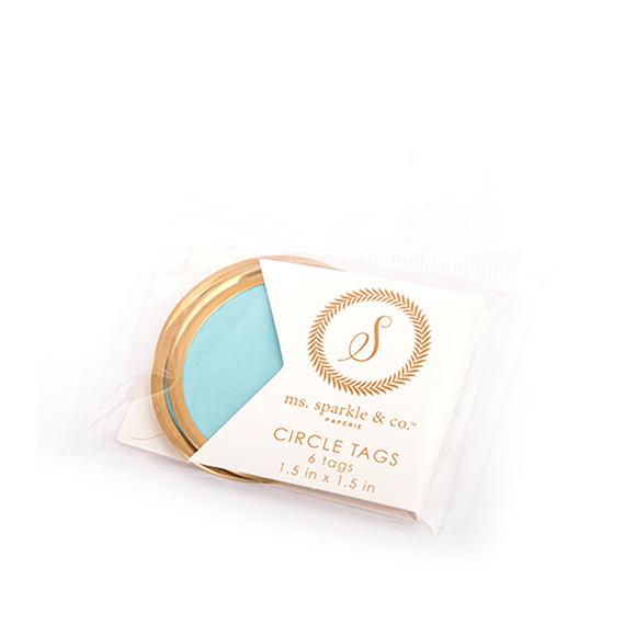 תגיות עגולות - CIRCLE TAG BLUE GOLD RIM