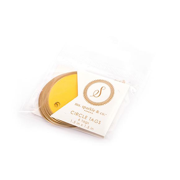 תגיות עגולות - CIRCLE TAG YELLOW GOLD RIM