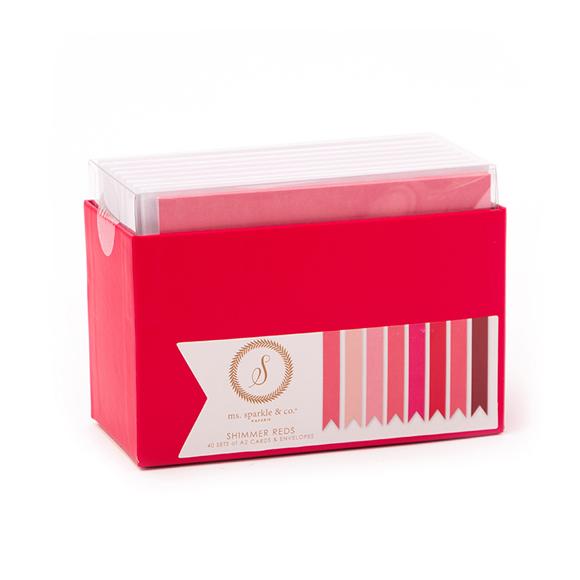 כרטיסים ומעטפות - SHIMMER PINK/RED