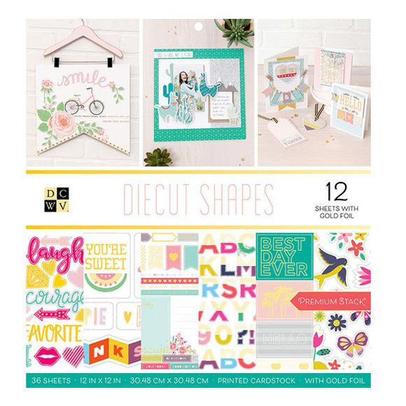 "מארז דפי קארדסטוק ""12 Diecut Shapes Collection"