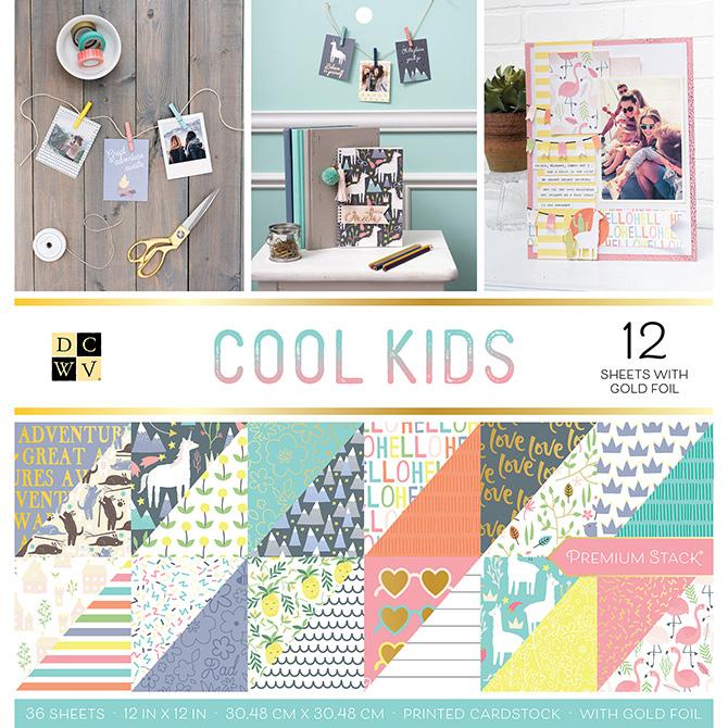 """מארז דפי קארדסטוק """"12 Cool Kids Collection"""