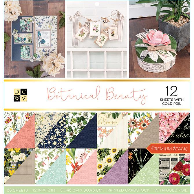 """מארז דפי קארדסטוק """"12 Botanical Beauty"""