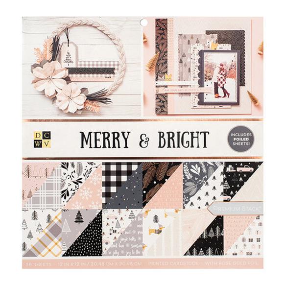"""מארז דפי קארדסטוק """"12 Merry and Bright - Christmas"""