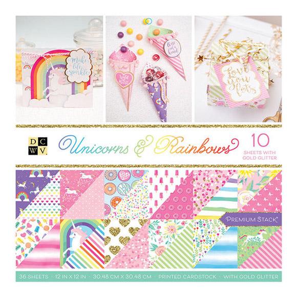 """מארז דפי קארדסטוק """"12 Unicorns and Rainbows"""