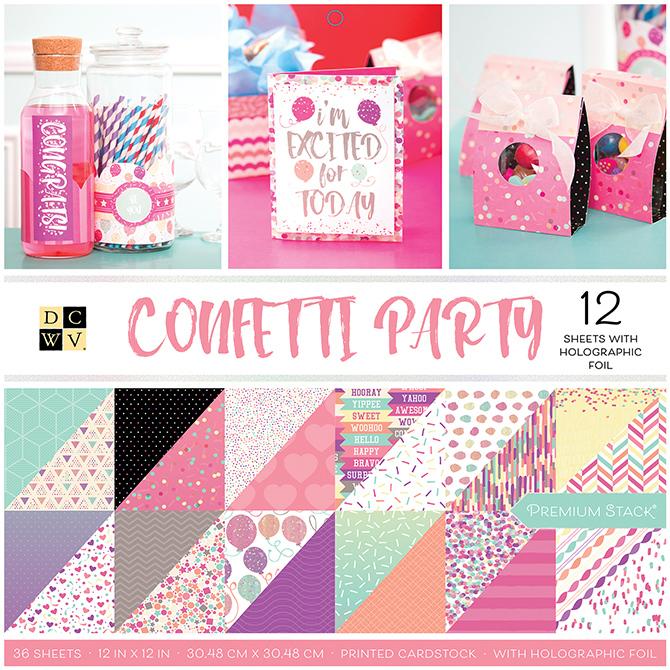 """מארז דפי קארדסטוק """"12 Confetti Party"""